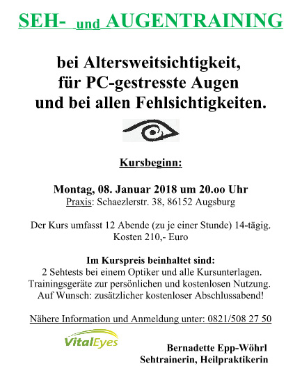 Sehtraining Augentrainingkurs ab 2018